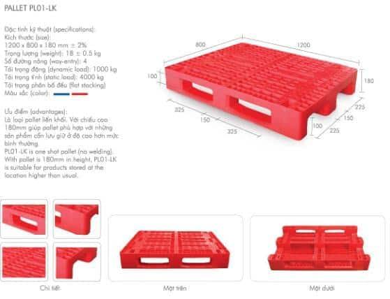 pallet nhựa mới pl01-lk